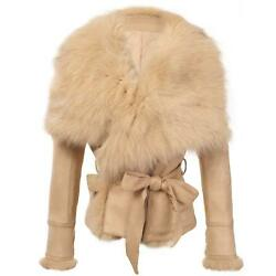 She'sModa Luxury Faux Suede Real Fox Fur Collar Jacket with Belt Slim Fit