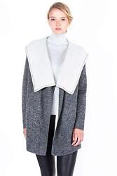 JENNIE LIU Women's 100% Pure Cashmere Long Sleeve 2-Tone Double Face Cascade