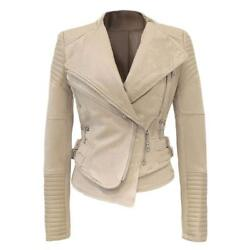She'sModa Suede Padded Shoulder Leather Jacket for Women Slim Fit Winter Coat