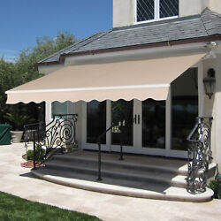 BCP 98x80in Retractable Patio Awning Cover w Aluminum Frame Crank Handle