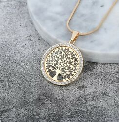 Tree of Life Crystal Round Small Pendant Necklace High Quality Fashion for Women