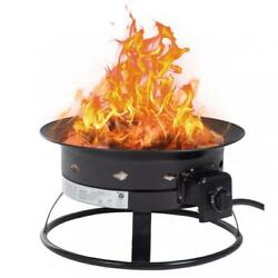 Patio Propane Gas Fire Pit Outdoor Portable Fire Bowl 19-Inch Diameter for Camp