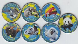 JAMRU & KASHMIR 5xNew set 7pcs 2019 Colorized ContinentsFaunaAnimals unusual