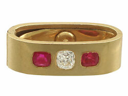 Antique 0.58Ct Diamond and 0.80Ct Ruby 18k Yellow Gold Scarf Clip 1900s