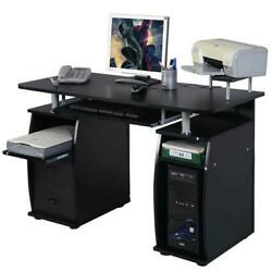 Corner Computer Laptop Desk Home Office Furniture With 3 Drawers amp; Printer Shelf $157.99