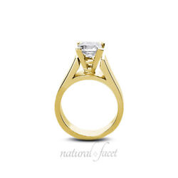 2.07ct HSI2Ideal Princess AGI Certify Diamond Yellow Gold Cathedral Ring 5.5mm