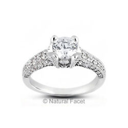 2.90ctw EI1Ideal Round Natural Diamonds White Gold Milgrain Basket Ring 2.78mm