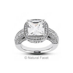 2.22ct JVS1Ideal Princess Natural Diamonds White Gold Halo Milgrain Ring 3.4mm