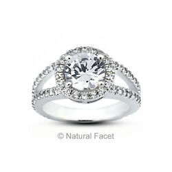 2.44ct FVS2Ideal Round AGI Certified Diamonds White Gold Split Band Ring 5.9mm