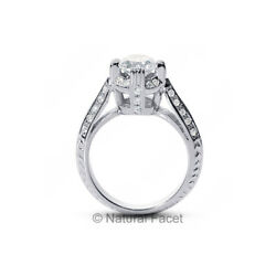 2.75 Carat DSI3Ideal Round Natural Diamonds 950PL Cathedral Basket Ring 3.77mm