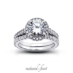 3.80 Carat II1VG Round Natural Diamonds White Gold Cathedral Gallery Set 4.4mm