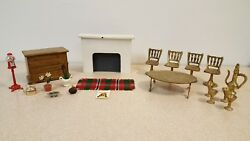 Vintage Lot Dollhouse Furniture & More Brass Wood Etc Table Chairs Fireplace Etc