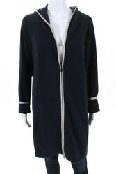 Chanel Womens Cashmere Hooded Cardigan Sweater Size European 50 Navy Blue 09P