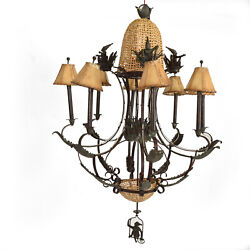 Hollywood Regency Maitland Smith Bronze & Cane Monkeys Chandelier