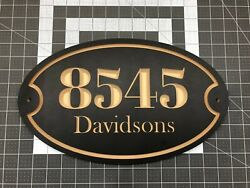 House Address Engraved Plaque 15″ x 9″ Oval House Number Outdoor Sign