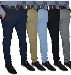 Mens Slim FIT Stretch Chino Trousers Casual Flat Front Flex Full Pants $22.95