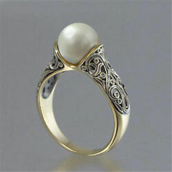 Fashion Wedding Ring for Women White Pearl 18k Yellow Gold Plated Ring Size 5-12