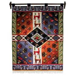Wool Tapestry Wall Hanging Hand Woven Andes Nazca Animals Fair Trade 4x5 Art
