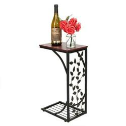 1 2PCS C Small Sofa End Table Narrow Snack Table Stand Leaf Rectangle Pattern $19.99