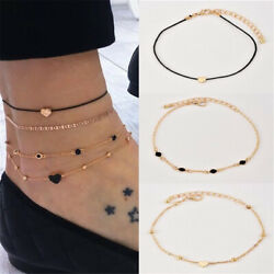 4pcsSet Women Jewelry Gold Plated Heart Beads Ankle Chain Foot Anklet Bracelet