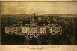 Poster Many Sizes; Panoramic View Map Of Washington City  D.C. From The New Dom