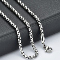 Fashion Unisex 316L Stainless Steel Round Box Chain Necklace Hot Gift $3.83