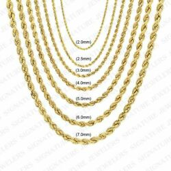 10K Solid Yellow Gold 2mm to 7mm Diamond Cut Rope Chain Pendant Necklace 14