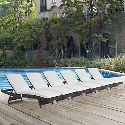 Outdoor Patio Wicker Rattan Chaise Lounge Chair in Espresso White - Set of 6