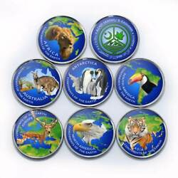 JAMRU & KASHMIR New set 7pcs 2017 Colorized ContinentsFaunaAnimals unusual