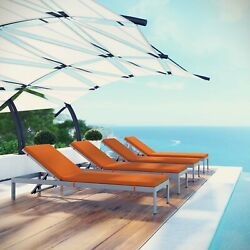 Outdoor Patio Aluminum Cushioned 4PC Chaise Lounge Chair Set in Silver Orange