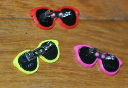3 Vintage SUNGLASSES BROOCH Pins pink yellow red Plastic Costume Jewelry pin