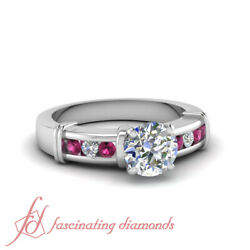 1.25 Carat Round Diamond And Pink Sapphire Channel Set Handmade Engagement Rings