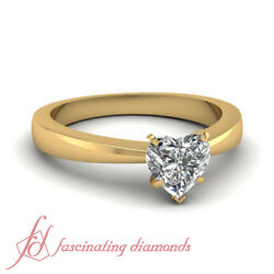 1 Carat Heart Shaped Tapered Style Solitaire Diamond Rings For Ladies 14K Gold