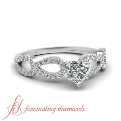 Pave Engagement Ring 1.75 TCW Heart Shaped Cut:Ideal Diamond SI2 GIA Certified