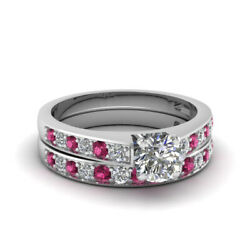 1.50 Carat Womens Wedding Rings Set With Round Cut Diamond And Pink Sapphire GIA