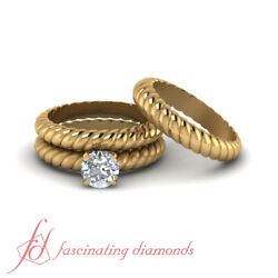 1 Carat Twisted Rope Pattern Trio Solitaire Wedding Rings Set With Round Diamond