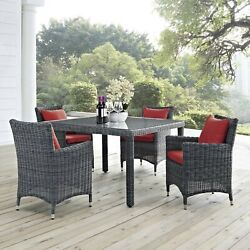 5PC Wicker Rattan Outdoor Patio Furniture Canvas Red Sunbrella® Dining Set