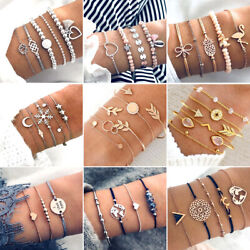 Bohemian Geometric Stone Bracelet Set for Women Vintage Rope Taseel Sequin Moon