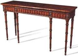 CONSOLE TABLE SCARBOROUGH HOUSE CROTCH MAHOGANY DECORATIVE DETAIL