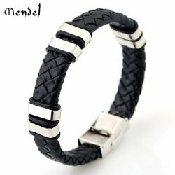 MENDEL Cool Men#x27;s Stainless Steel Cuff Bangle Buckle Leather Bracelet Wristband $10.99