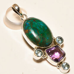 AZURITE MELACHITE  FACETED AFRICAN AMETHYST 925 STERLING SILVER PENDANT 2.25
