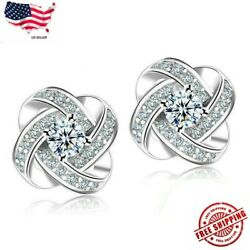 925 Sterling Silver Women Jewelry Love Forever Elegant Crystal Ear Stud Earrings $3.89