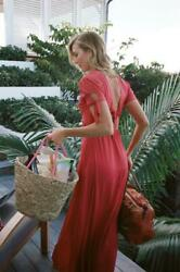 NWT EXPRESS KARLIE KLOSS limited edition red maxi tie sleeve dress 6 8 12 $42.49