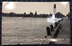 RPPC Michigan MI Speed Sail Boats  Dock Water Tower Beach C 1939