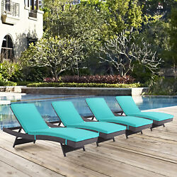Outdoor Patio Wicker Rattan Chaise Lounge Chair in Espresso Turquoise - Set of 4