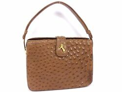 Off-Brand Unbranded Ostrich Exotic Leather Hand Bag Brown #597