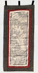 """Hand Made Quilted Wall Hanging Lady Floral Black Red Cream 35.25"""" X 16.75"""" Art $15.40"""