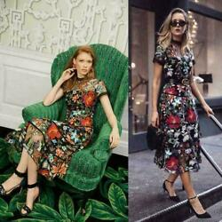 Runway New Women Flower Embroidery Floral Mesh Evening Party Cocktail Long Dress