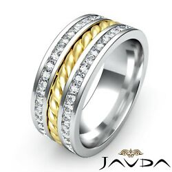 1.75Ct. Rope Design Channel Diamond Men's Eternity Wedding Band 2 Tone Gold Ring