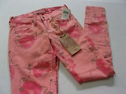 NWT Womens $99 Lucky Brand Lucky Legend Pink Floral Skinny Fit Jeans Size 00 24
